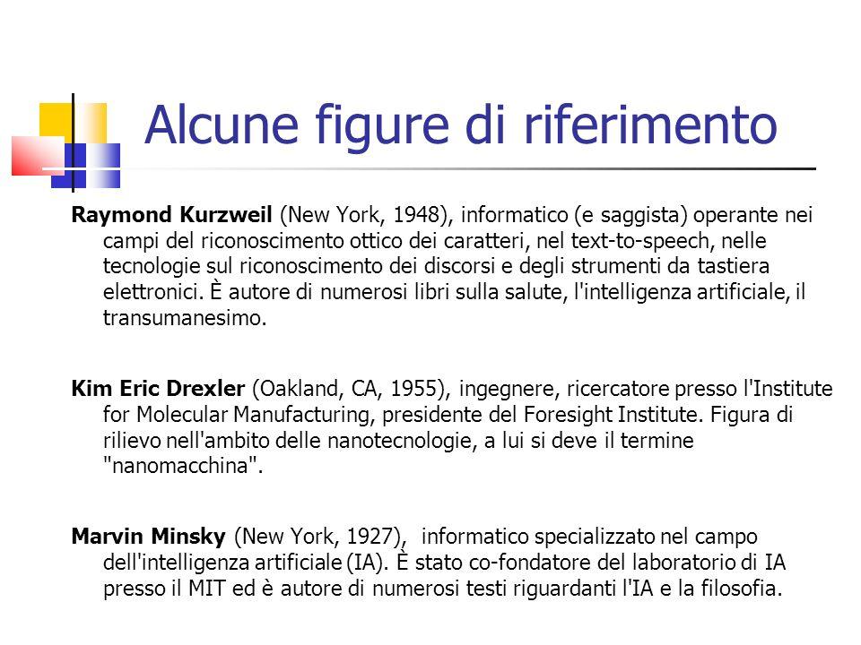 Alcune figure di riferimento Raymond Kurzweil (New York, 1948), informatico (e saggista) operante nei campi del riconoscimento ottico dei caratteri, nel text-to-speech, nelle tecnologie sul riconoscimento dei discorsi e degli strumenti da tastiera elettronici.