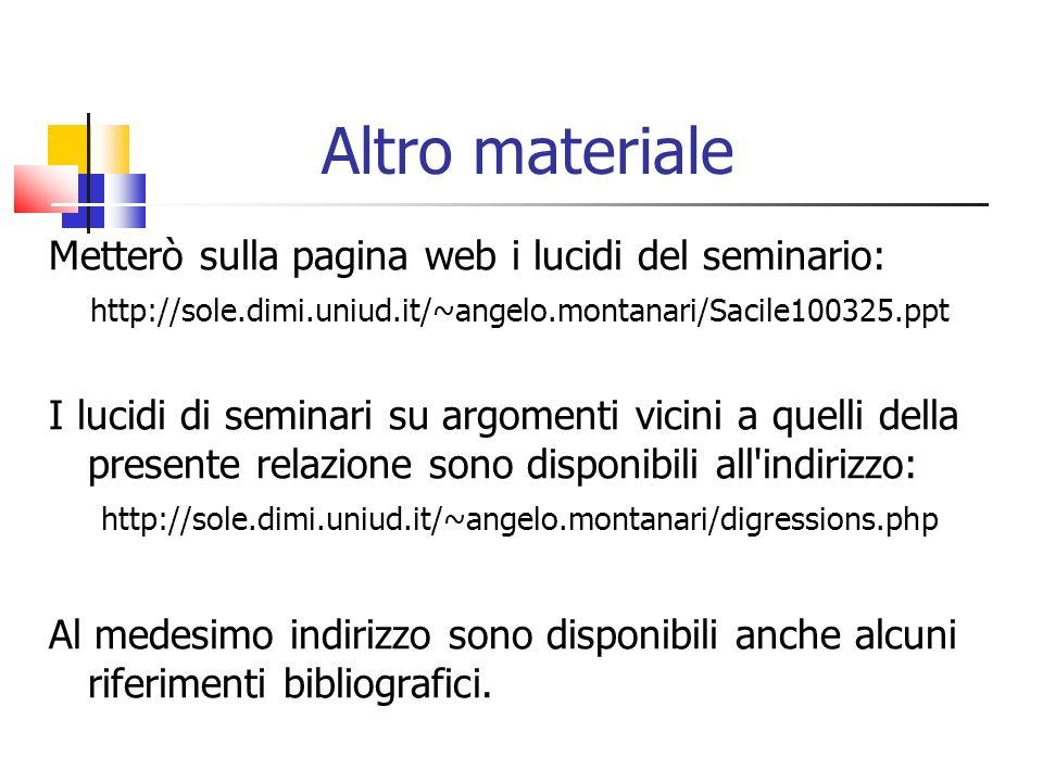Altro materiale Metterò sulla pagina web i lucidi del seminario: http://sole.dimi.uniud.it/~angelo.montanari/Sacile100325.ppt I lucidi di seminari su