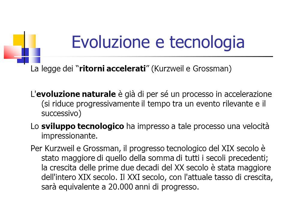 Evoluzione e tecnologia La legge dei ritorni accelerati (Kurzweil e Grossman) L'evoluzione naturale è già di per sé un processo in accelerazione (si r