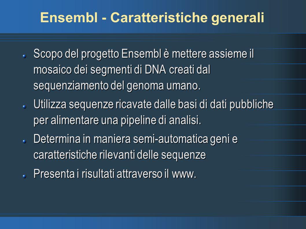 Ensembl - Caratteristiche generali Scopo del progetto Ensembl è mettere assieme il mosaico dei segmenti di DNA creati dal sequenziamento del genoma um