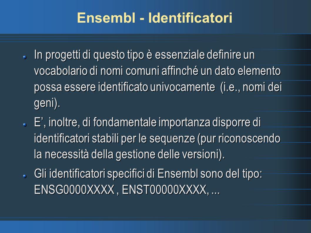 Ensembl - Identificatori In progetti di questo tipo è essenziale definire un vocabolario di nomi comuni affinché un dato elemento possa essere identif