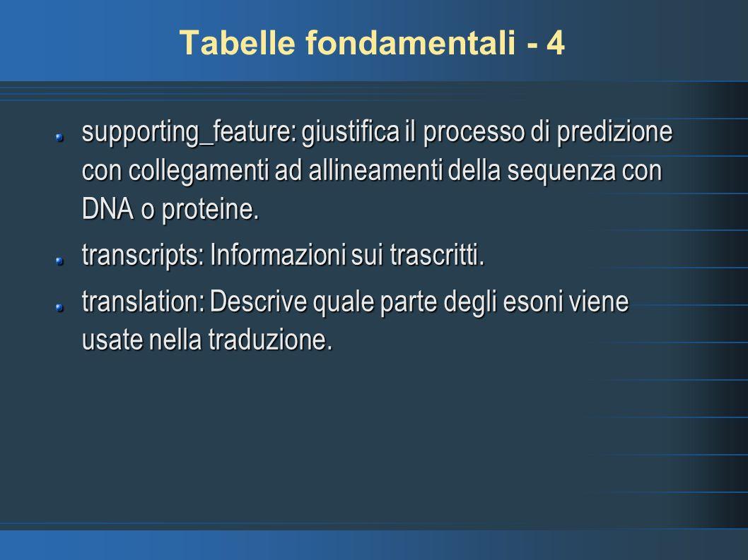 Tabelle fondamentali - 4 supporting_feature: giustifica il processo di predizione con collegamenti ad allineamenti della sequenza con DNA o proteine.