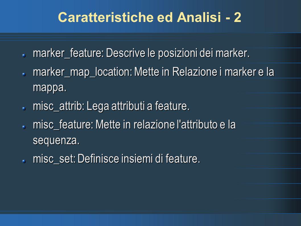 Caratteristiche ed Analisi - 2 marker_feature: Descrive le posizioni dei marker. marker_map_location: Mette in Relazione i marker e la mappa. misc_att