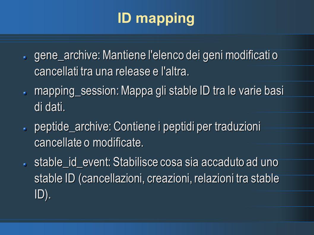 ID mapping gene_archive: Mantiene l'elenco dei geni modificati o cancellati tra una release e l'altra. mapping_session: Mappa gli stable ID tra le var