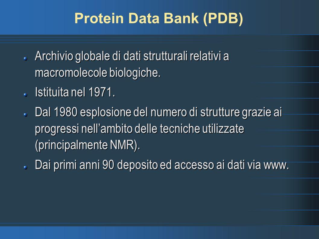 Protein Data Bank (PDB) Archivio globale di dati strutturali relativi a macromolecole biologiche. Istituita nel 1971. Dal 1980 esplosione del numero d