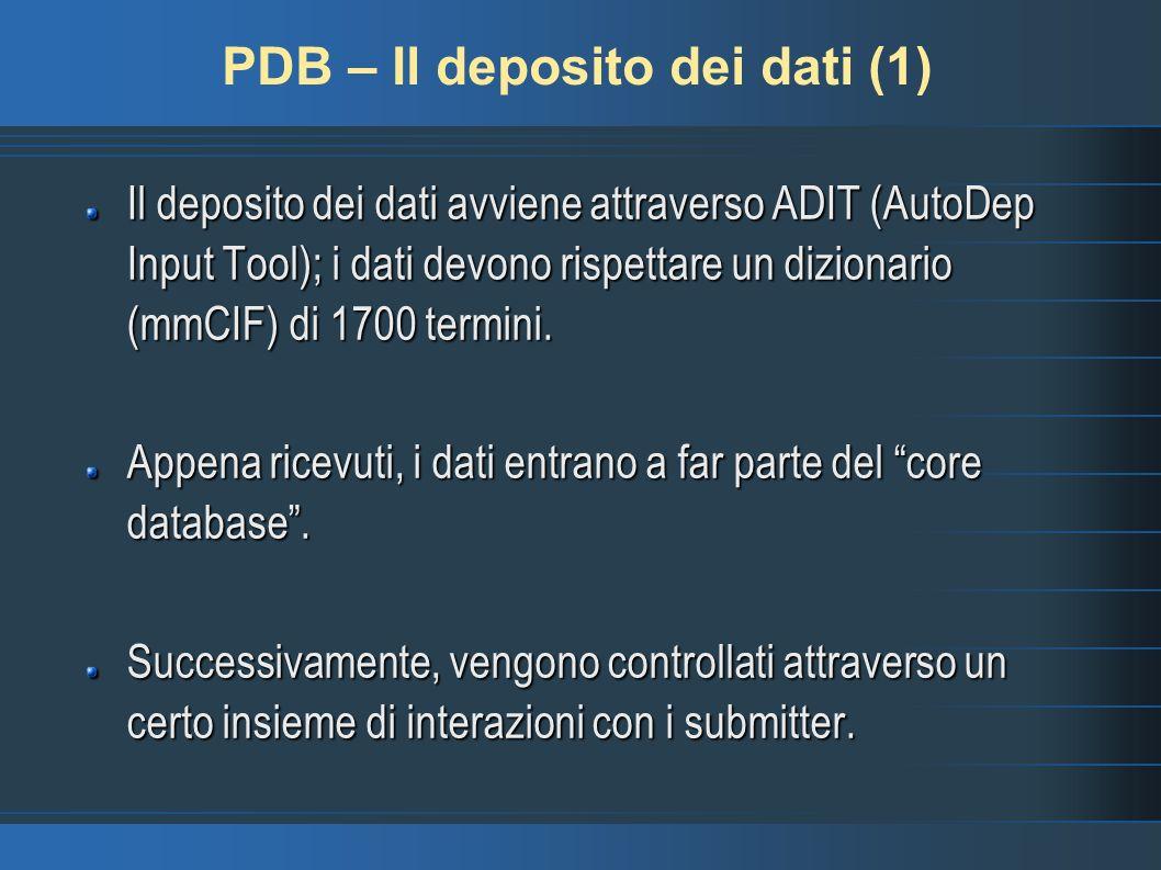 PDB – Il deposito dei dati (2) Vengono registrate: le coordinate della struttura; informazioni generali sulla struttura (pubblicazioni, organismi,...); informazioni specifiche ( dati della NMR, processo di acquisizione del dato,...).