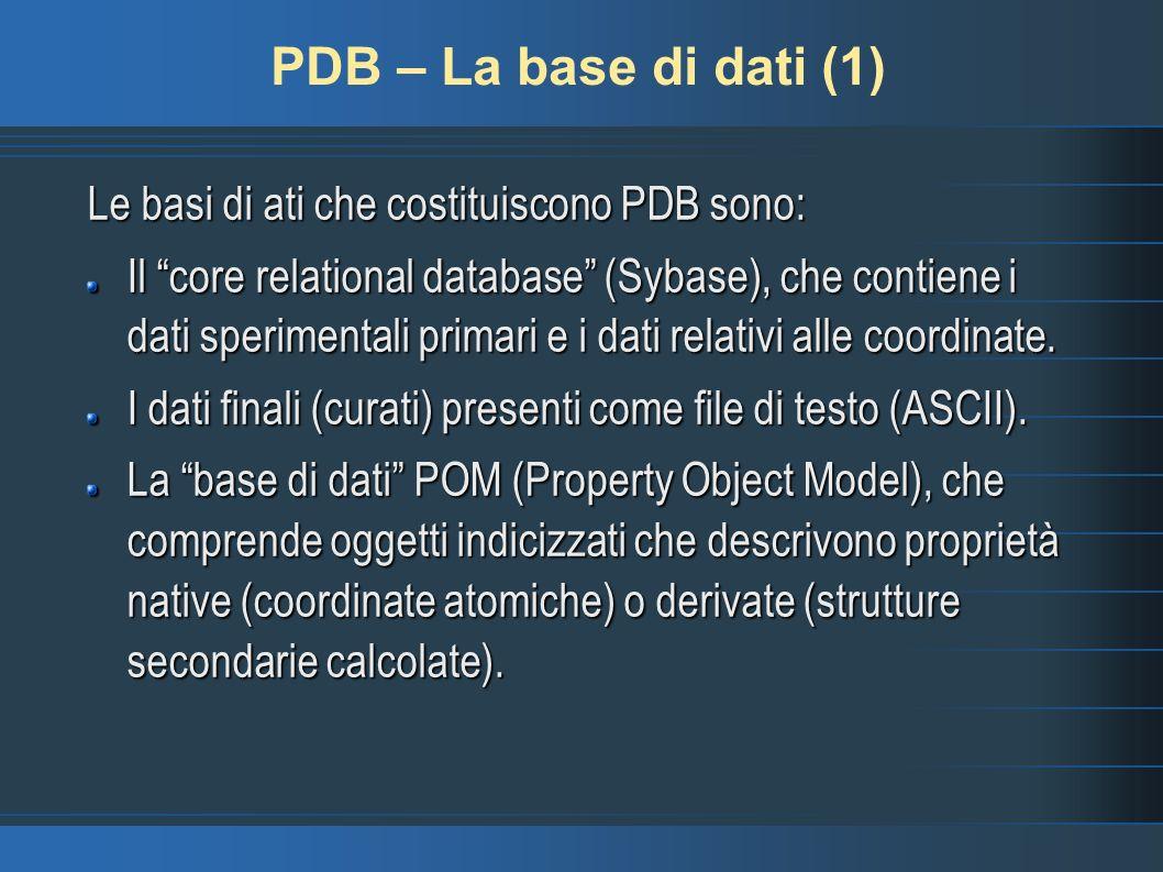 PDB – La base di dati (1) Le basi di ati che costituiscono PDB sono: Il core relational database (Sybase), che contiene i dati sperimentali primari e