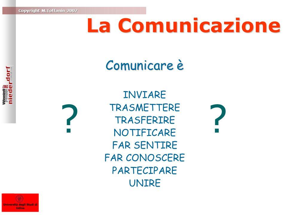 La Comunicazione Comunicare è INVIARE TRASMETTERE TRASFERIRE NOTIFICARE FAR SENTIRE FAR CONOSCERE PARTECIPARE UNIRE ? ?