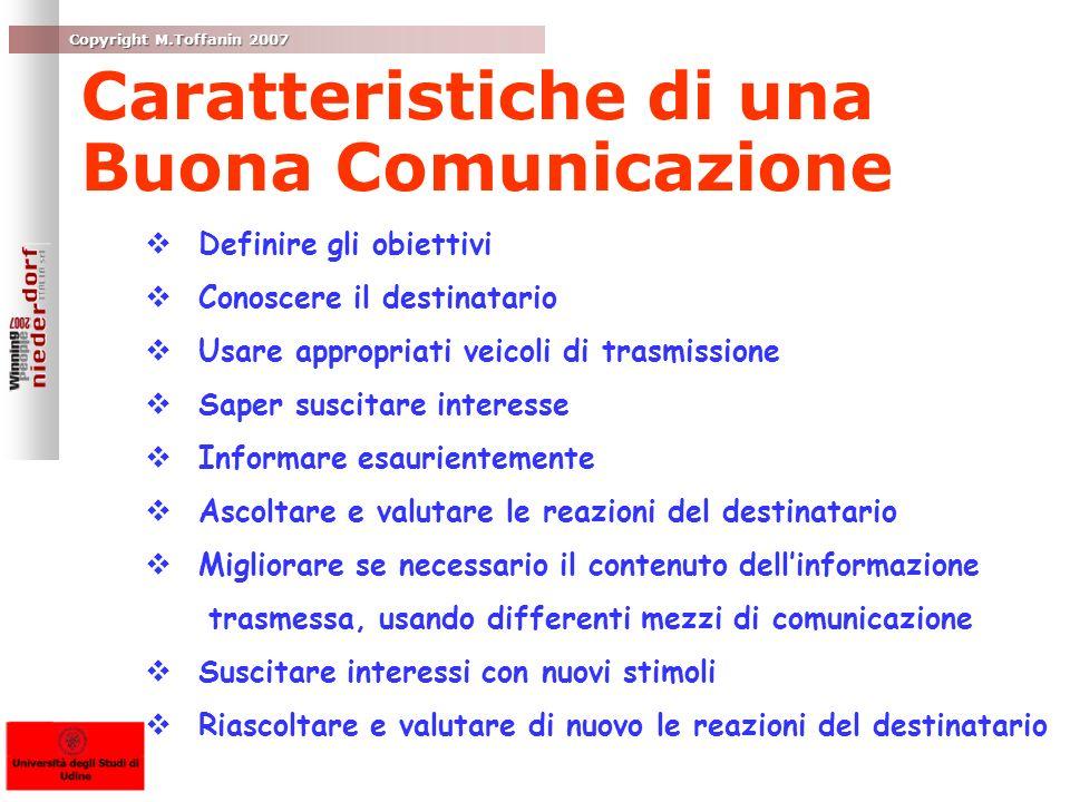 Copyright M.Toffanin 2007 Caratteristiche di una Buona Comunicazione Definire gli obiettivi Definire gli obiettivi Conoscere il destinatario Conoscere