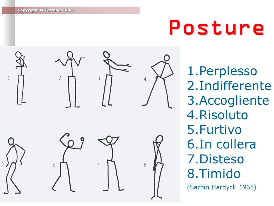 Copyright M.Toffanin 2007 Posture 1.Perplesso 2.Indifferente 3.Accogliente 4.Risoluto 5.Furtivo 6.In collera 7.Disteso 8.Timido (Sarbin Hardyck 1965)