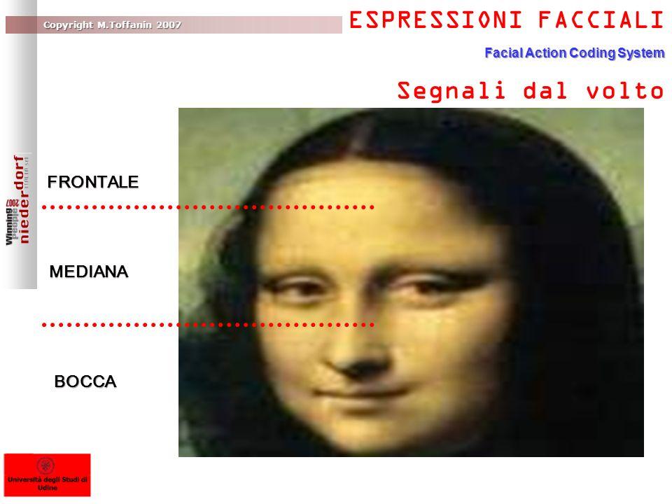 Copyright M.Toffanin 2007 ESPRESSIONI FACCIALI Facial Action Coding System Segnali dal volto FRONTALE MEDIANA BOCCA