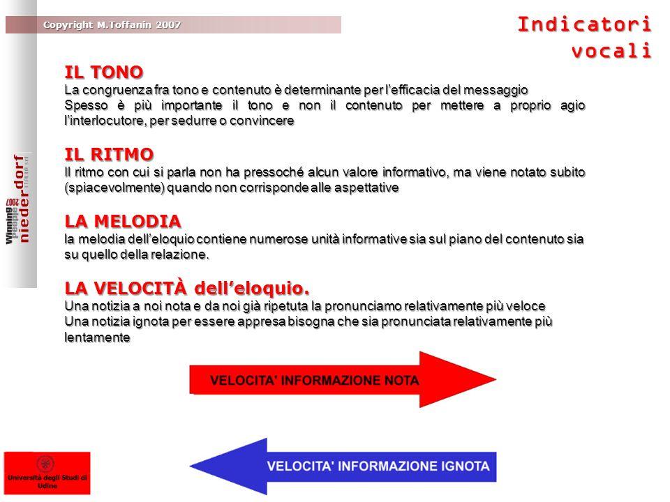 Copyright M.Toffanin 2007 IL TONO La congruenza fra tono e contenuto è determinante per lefficacia del messaggio Spesso è più importante il tono e non