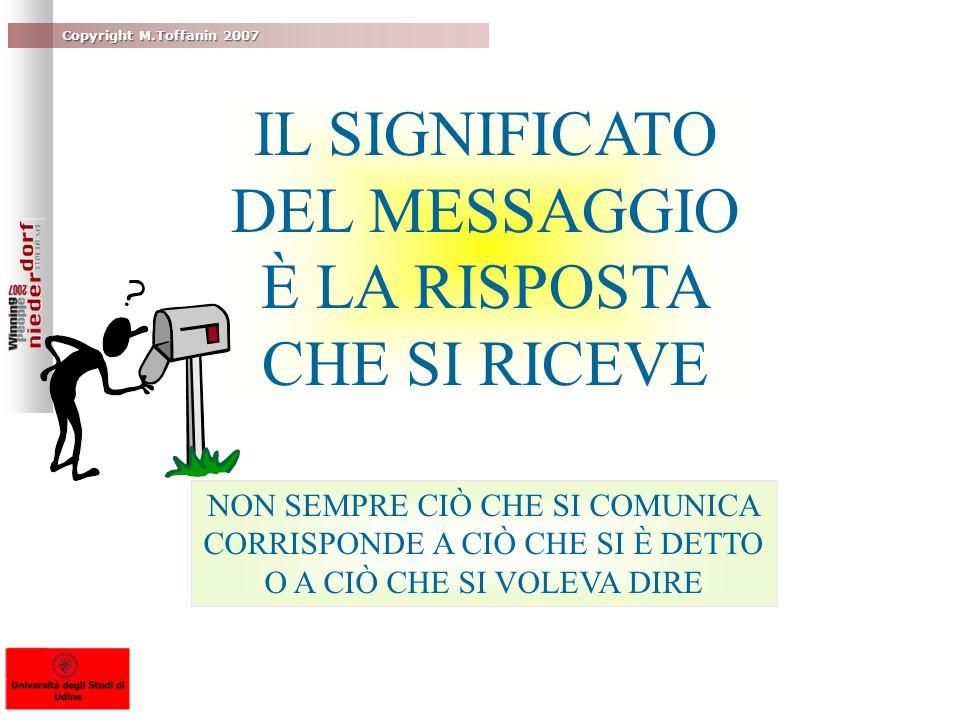 Copyright M.Toffanin 2007 IL SIGNIFICATO DEL MESSAGGIO È LA RISPOSTA CHE SI RICEVE NON SEMPRE CIÒ CHE SI COMUNICA CORRISPONDE A CIÒ CHE SI È DETTO O A