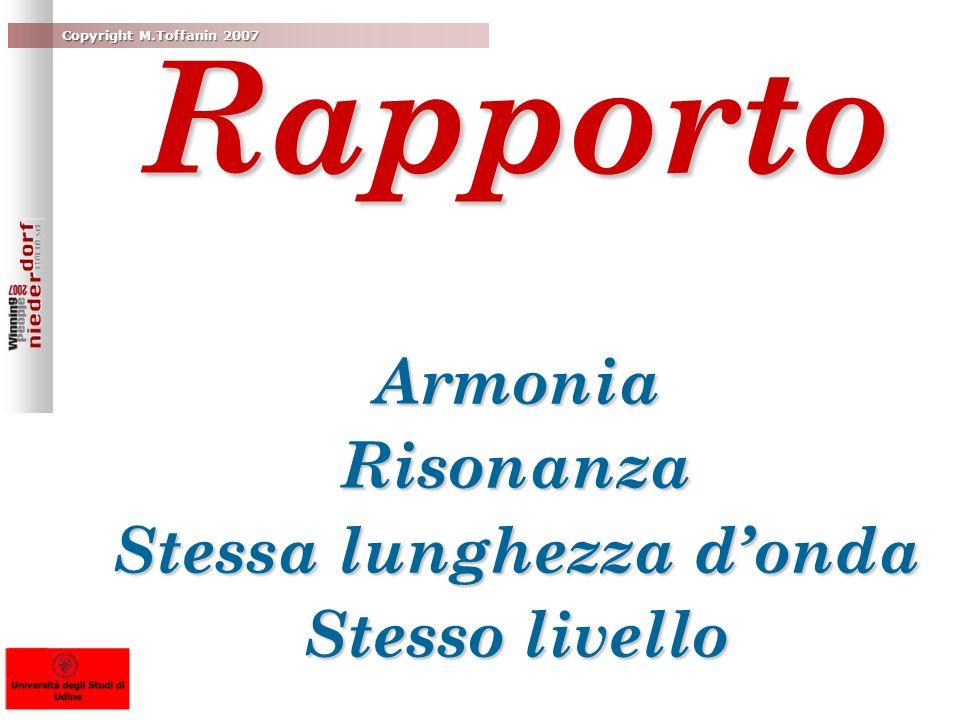 Rapporto Armonia Risonanza Stessa lunghezza donda Stesso livello