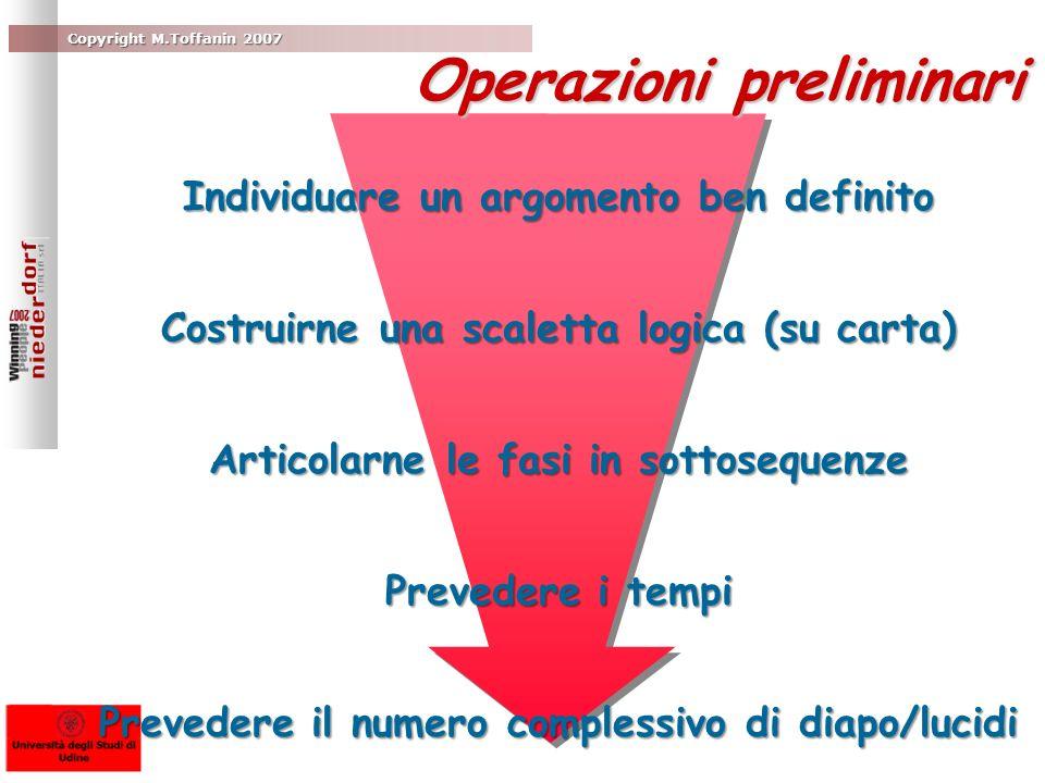 Copyright M.Toffanin 2007 Operazioni preliminari Individuare un argomento ben definito Costruirne una scaletta logica (su carta) Articolarne le fasi i