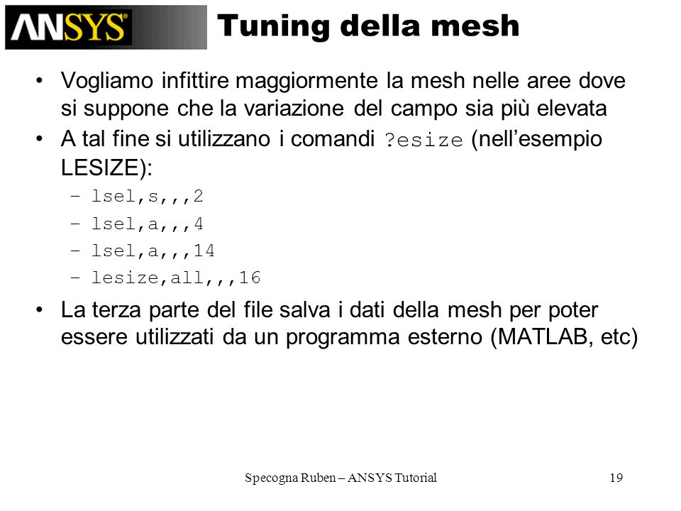 Specogna Ruben – ANSYS Tutorial19 Tuning della mesh Vogliamo infittire maggiormente la mesh nelle aree dove si suppone che la variazione del campo sia