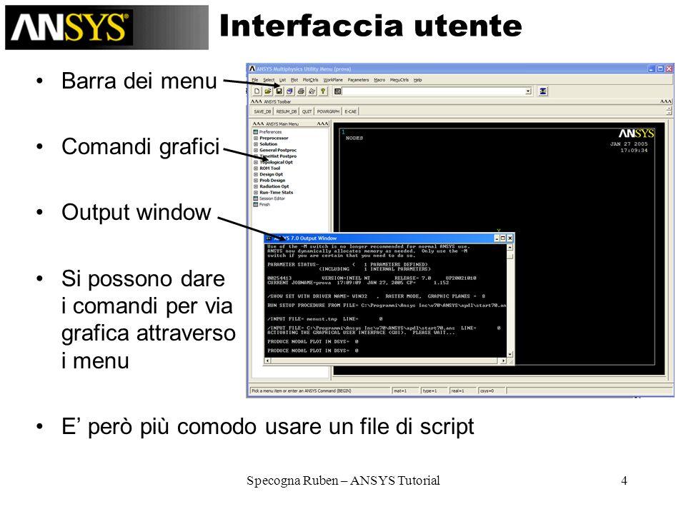 Specogna Ruben – ANSYS Tutorial4 Interfaccia utente Barra dei menu Comandi grafici Output window Si possono dare i comandi per via grafica attraverso