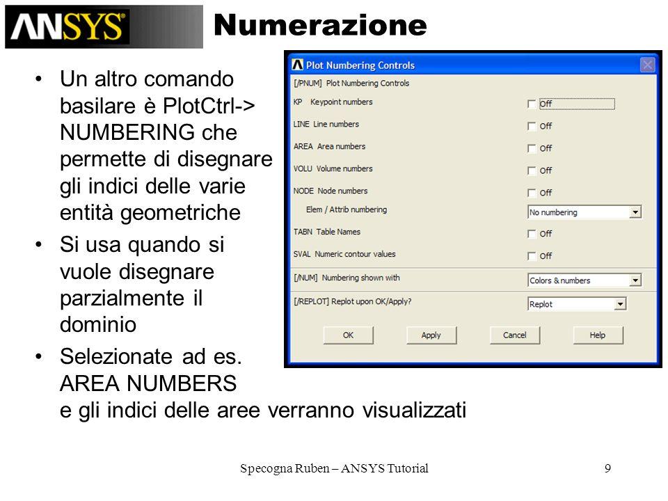 Specogna Ruben – ANSYS Tutorial10 Selezione 1/2 Vediamo ora come selezionare le entità geometriche –SELECT –RESELECT –ALSO SELECT –UNSELECT –INVERT –SELECT ALL –SELECT NONE