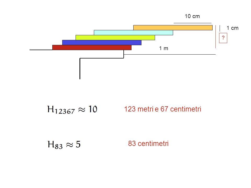 10 cm 1 cm ? 1 m 123 metri e 67 centimetri 83 centimetri