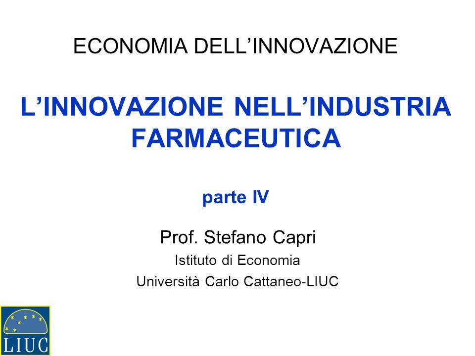 ECONOMIA DELLINNOVAZIONE LINNOVAZIONE NELLINDUSTRIA FARMACEUTICA parte IV Prof. Stefano Capri Istituto di Economia Università Carlo Cattaneo-LIUC