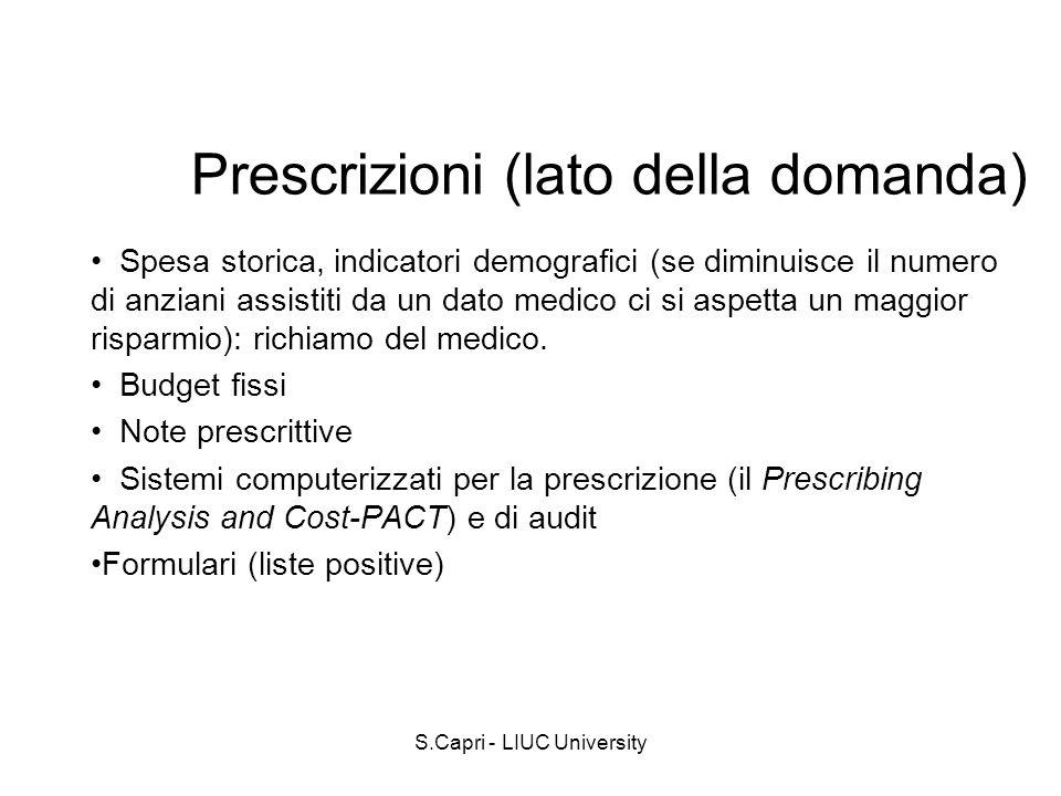 S.Capri - LIUC University Prescrizioni (lato della domanda) Spesa storica, indicatori demografici (se diminuisce il numero di anziani assistiti da un