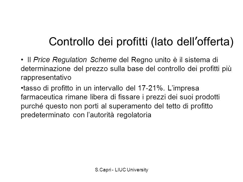 S.Capri - LIUC University Controllo dei profitti (lato dell offerta) Il Price Regulation Scheme del Regno unito è il sistema di determinazione del pre