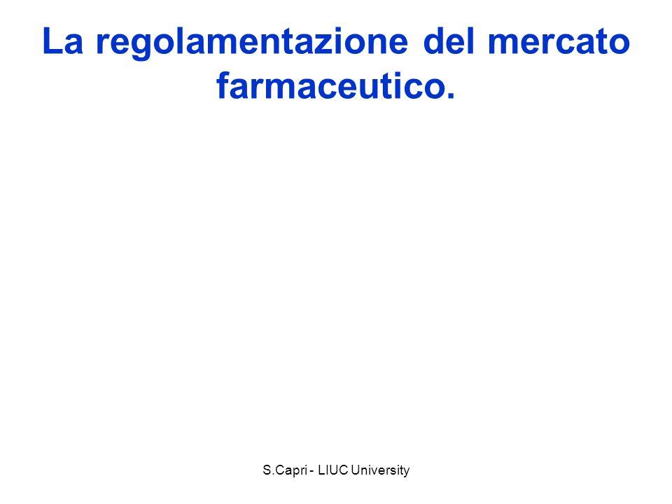 S.Capri - LIUC University Il bene farmaco Input di un processo di produzione di salute, spesso produzione congiunta (altri fattori) Il prodotto è lefficacia: lefficacia è incerta.