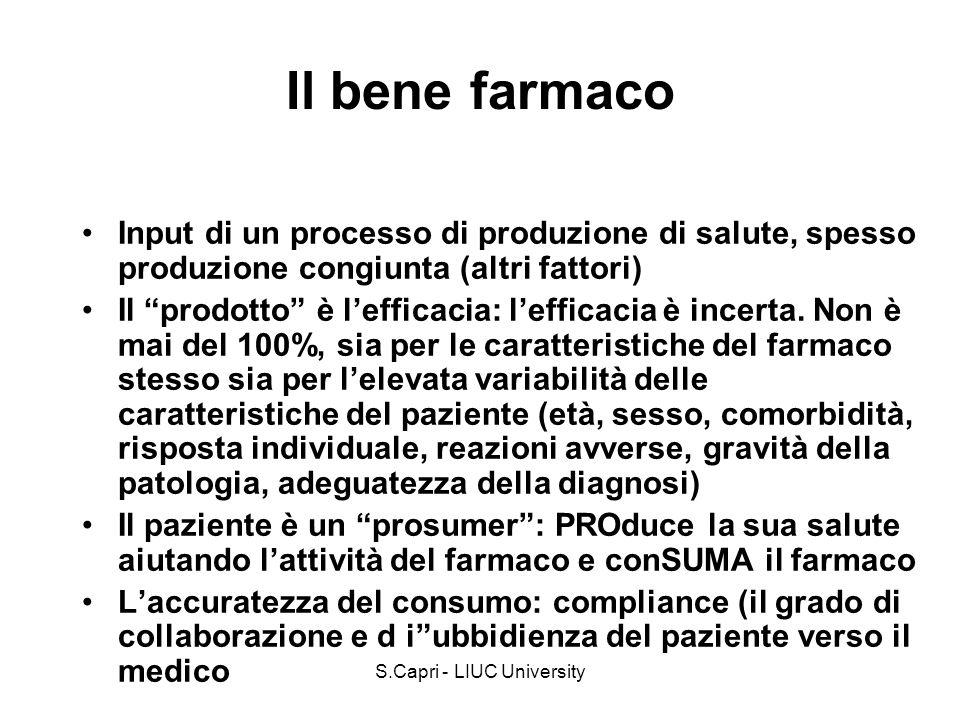 S.Capri - LIUC University Il bene farmaco Input di un processo di produzione di salute, spesso produzione congiunta (altri fattori) Il prodotto è leff