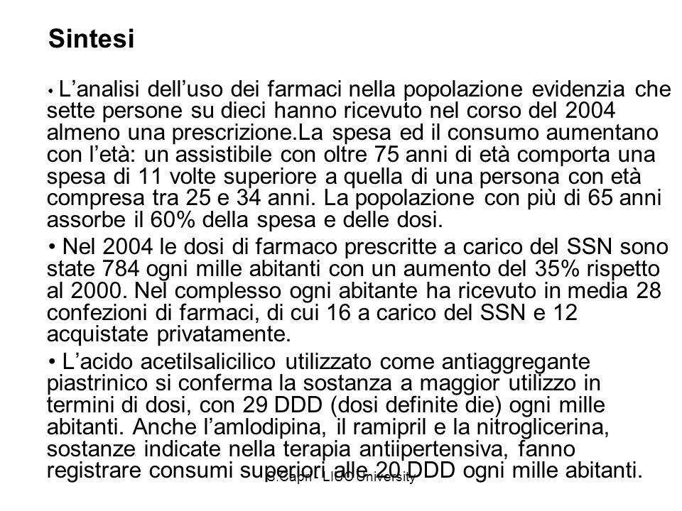 S.Capri - LIUC University Sintesi Lanalisi delluso dei farmaci nella popolazione evidenzia che sette persone su dieci hanno ricevuto nel corso del 200