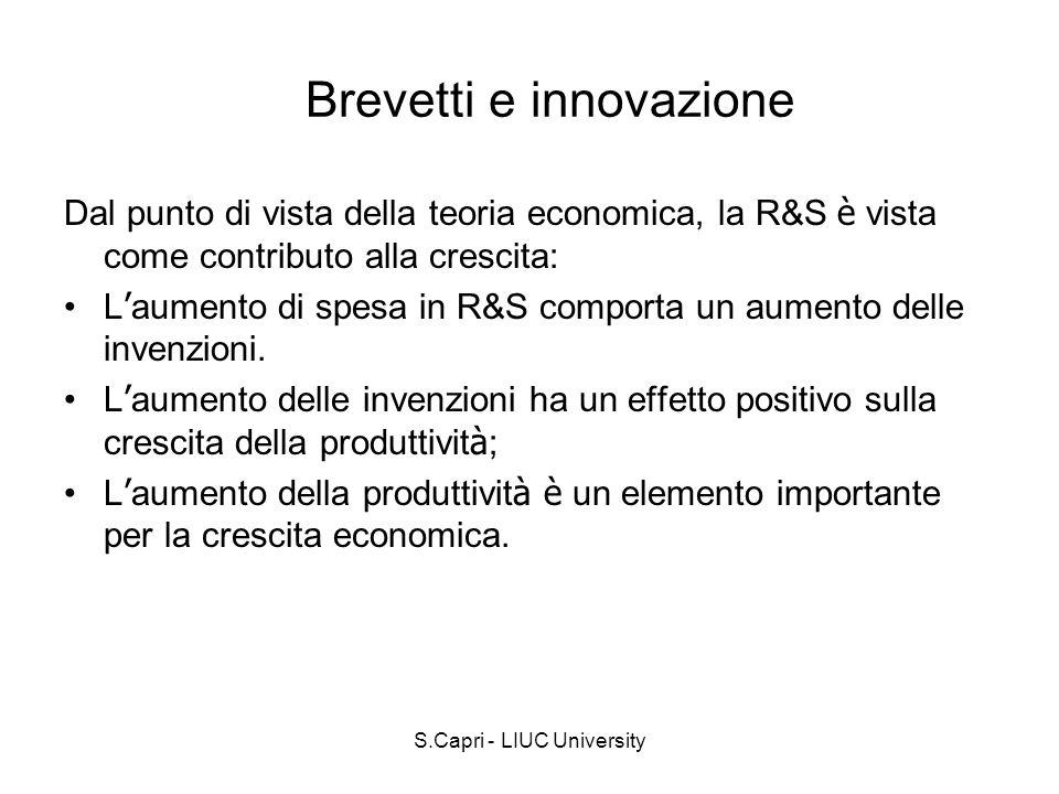 S.Capri - LIUC University Brevetti e innovazione Dal punto di vista della teoria economica, la R&S è vista come contributo alla crescita: L aumento di