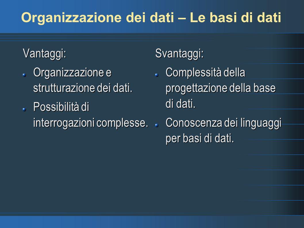 Organizzazione dei dati – Le basi di dati Vantaggi: Organizzazione e strutturazione dei dati.