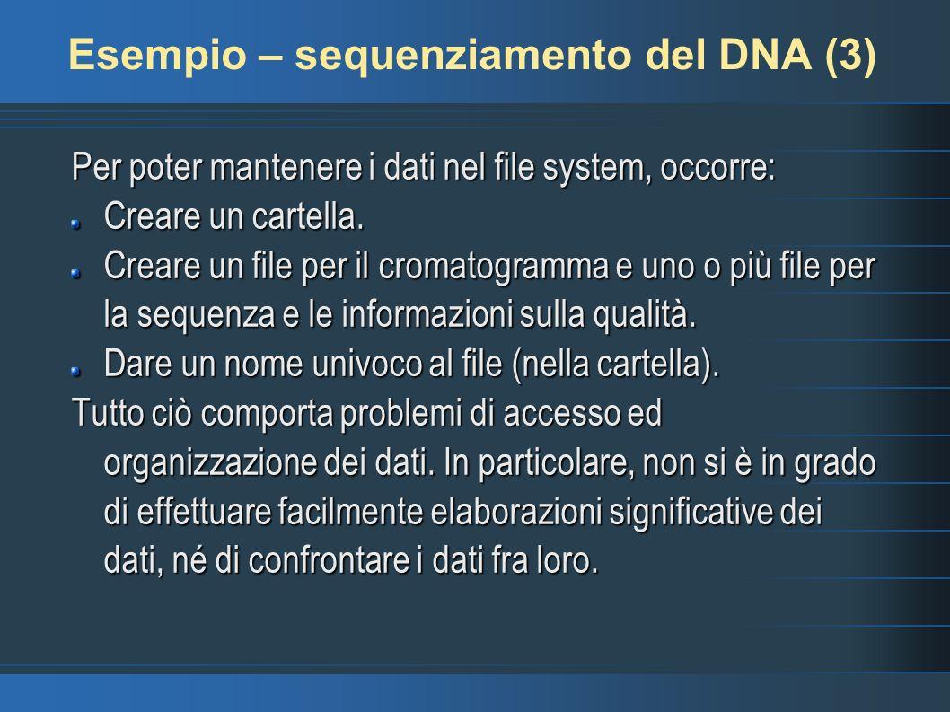 Esempio – sequenziamento del DNA (3) Per poter mantenere i dati nel file system, occorre: Creare un cartella.