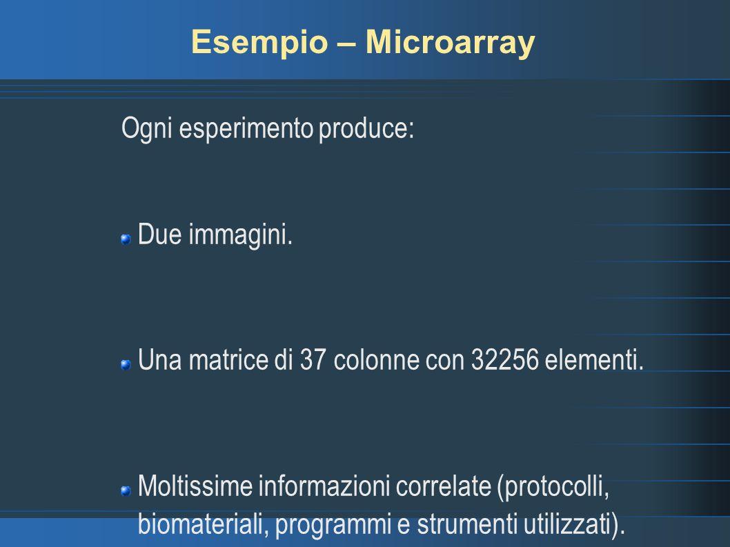 Esempio – Microarray Ogni esperimento produce: Due immagini.