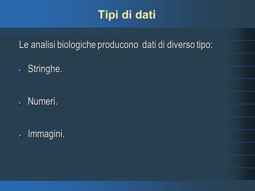 Tipi di dati Le analisi biologiche producono dati di diverso tipo: Stringhe.Numeri.Immagini.