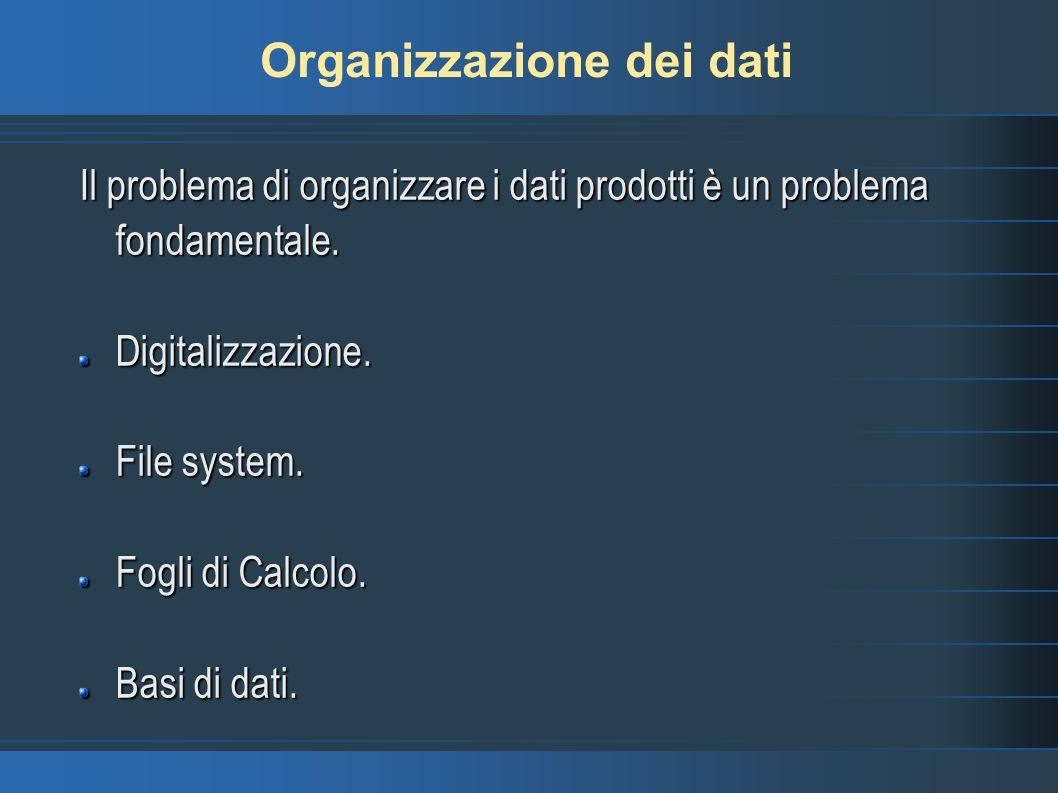 Organizzazione dei dati Il problema di organizzare i dati prodotti è un problema fondamentale.