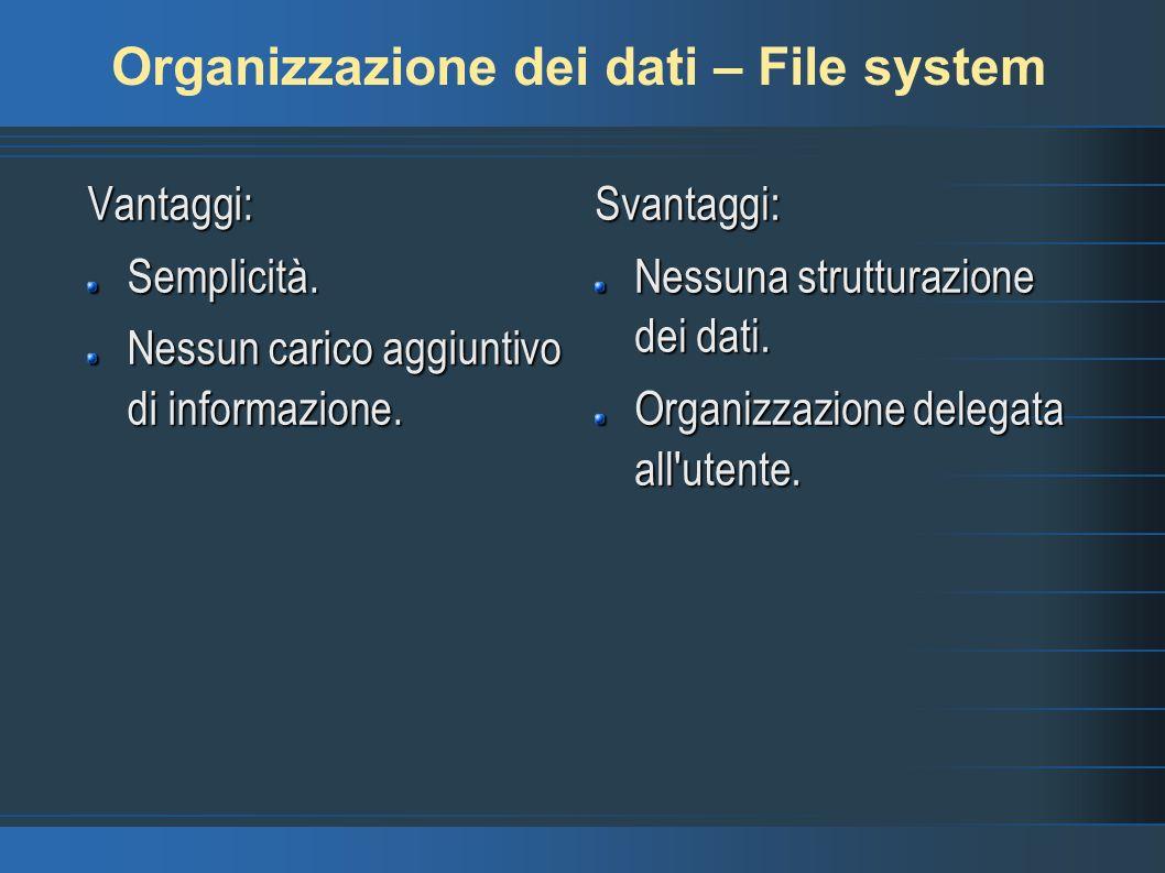 Organizzazione dei dati – File system Vantaggi:Semplicità.