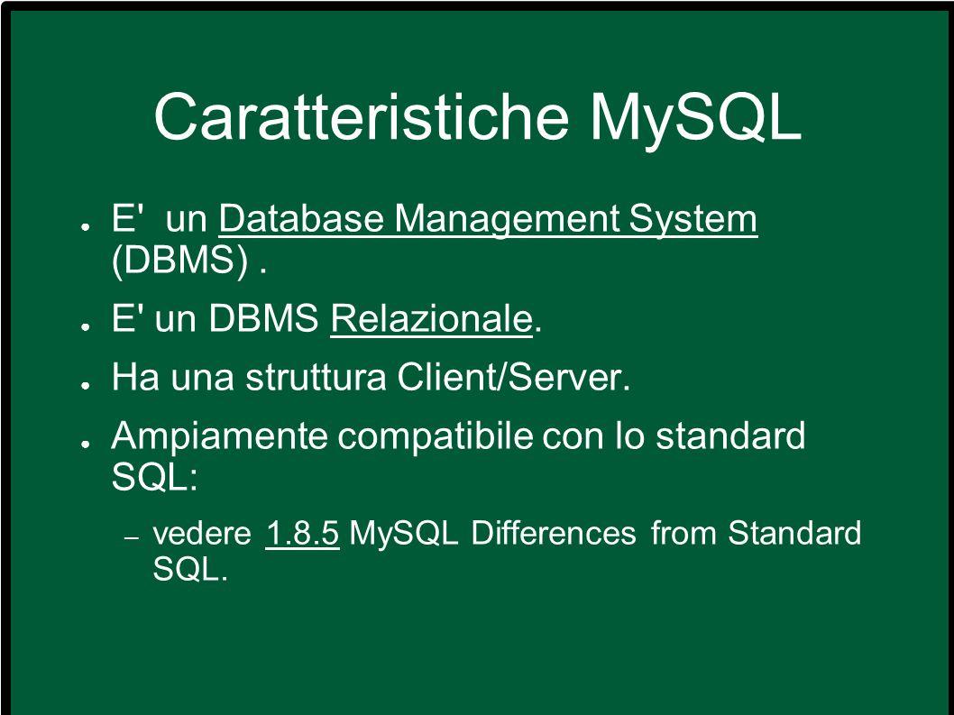 Differenze con gli altri DBMS Microsoft Access, Filemaker: – visuali, non client/server.