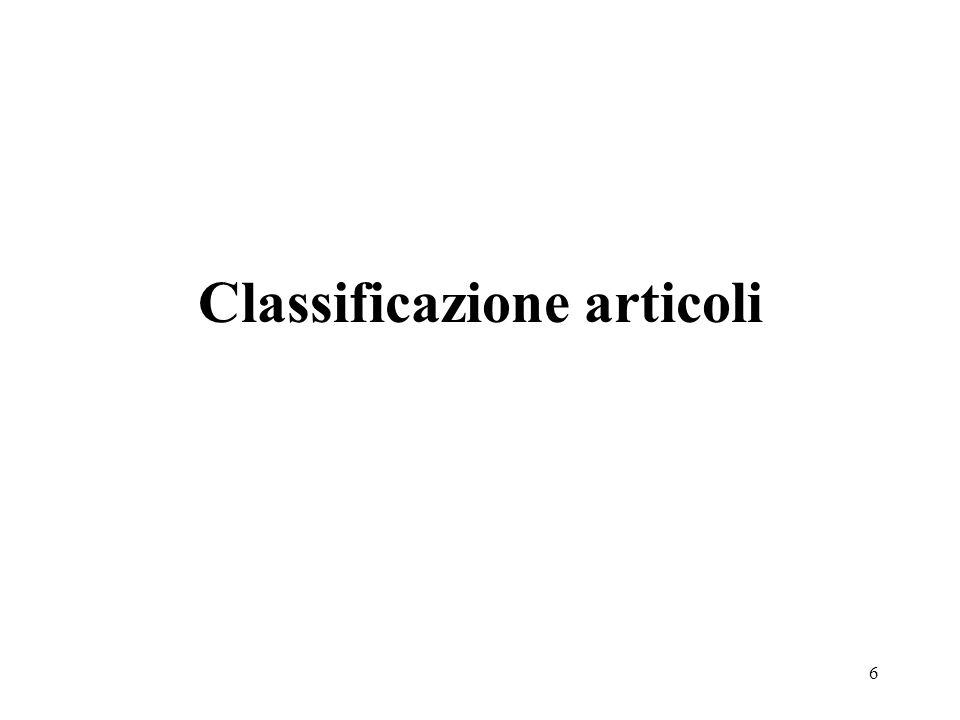 6 Classificazione articoli