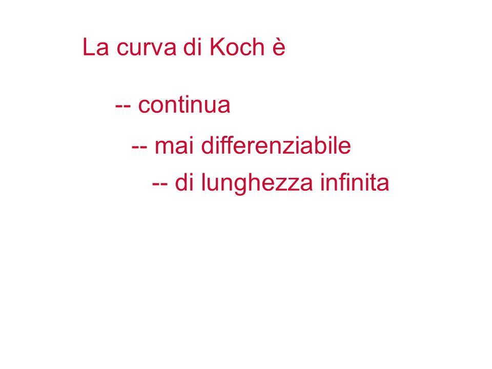 La curva di Koch è -- continua -- mai differenziabile -- di lunghezza infinita