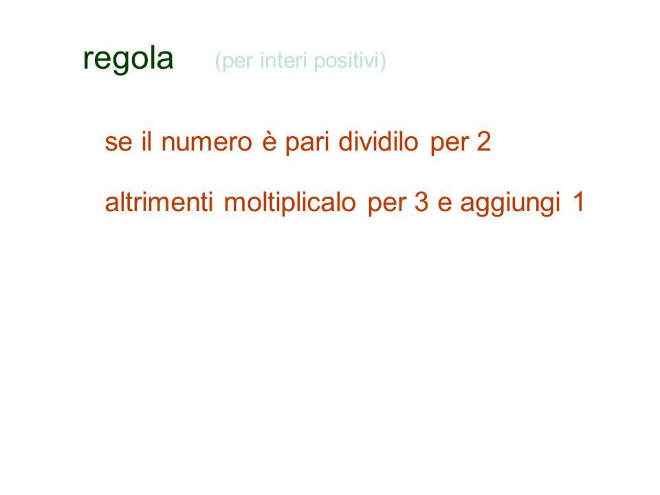 se il numero è pari dividilo per 2 altrimenti moltiplicalo per 3 e aggiungi 1 (per interi positivi)