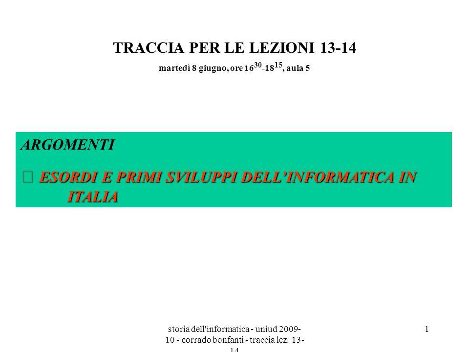 storia dell informatica - uniud 2009- 10 - corrado bonfanti - traccia lez. 13- 14 12 INAC (1955)