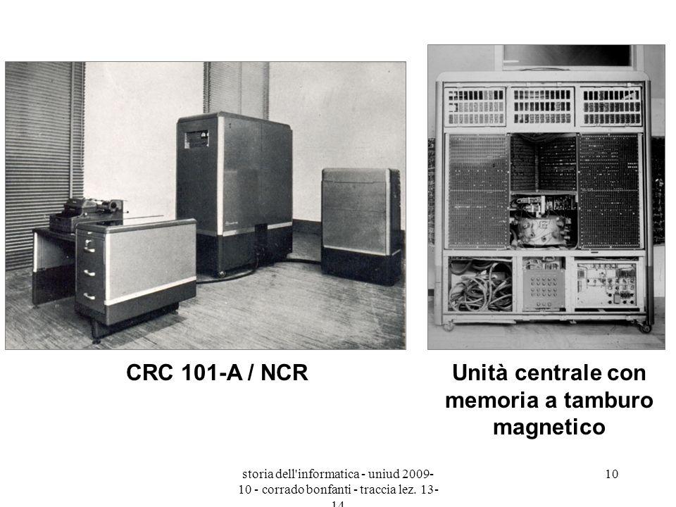 storia dell'informatica - uniud 2009- 10 - corrado bonfanti - traccia lez. 13- 14 10 CRC 101-A / NCRUnità centrale con memoria a tamburo magnetico
