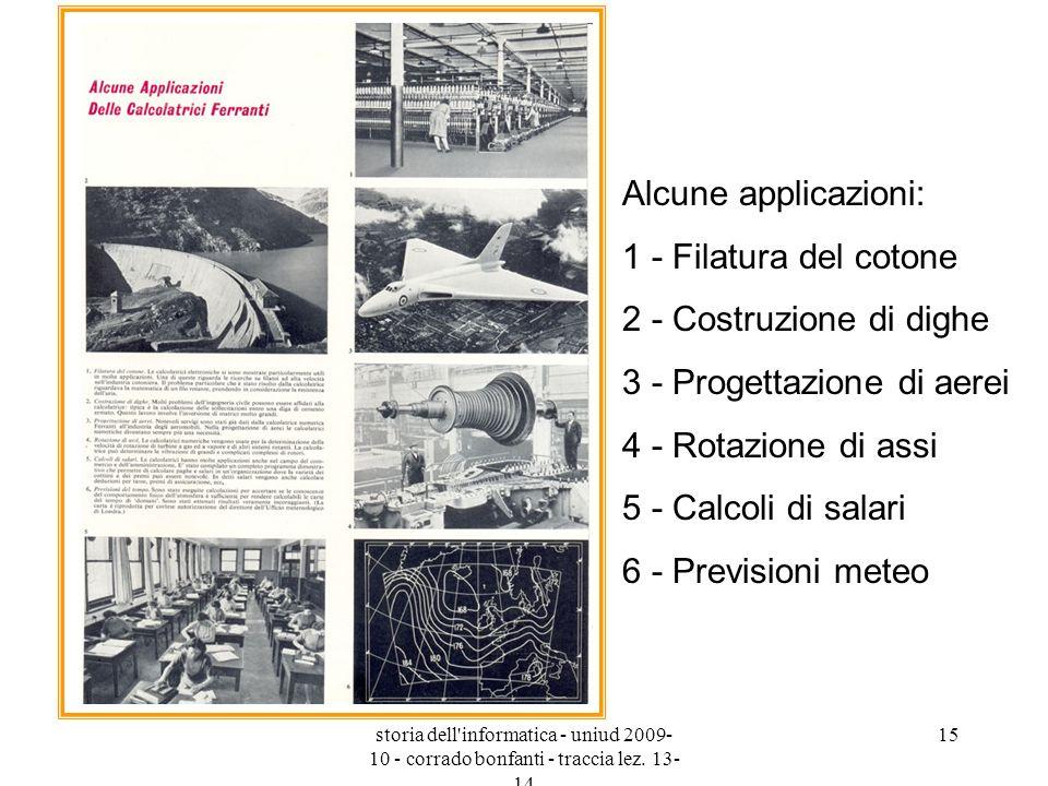 storia dell'informatica - uniud 2009- 10 - corrado bonfanti - traccia lez. 13- 14 15 Alcune applicazioni: 1 - Filatura del cotone 2 - Costruzione di d