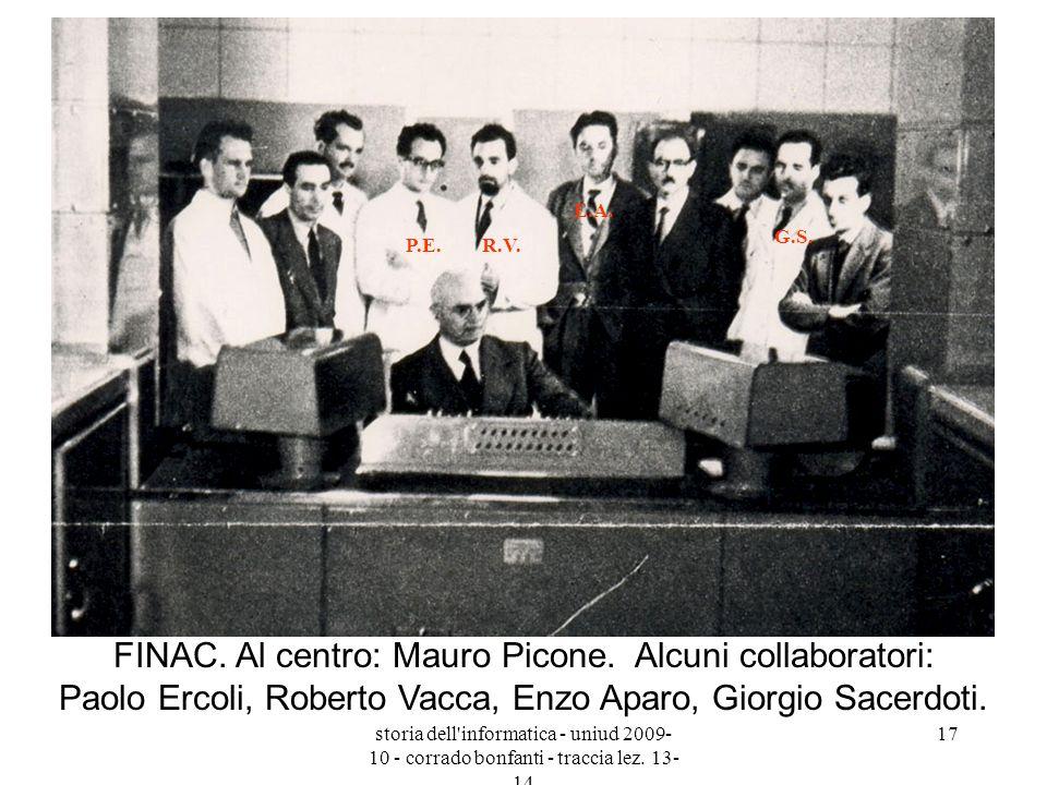 storia dell'informatica - uniud 2009- 10 - corrado bonfanti - traccia lez. 13- 14 17 FINAC. Al centro: Mauro Picone. Alcuni collaboratori: Paolo Ercol