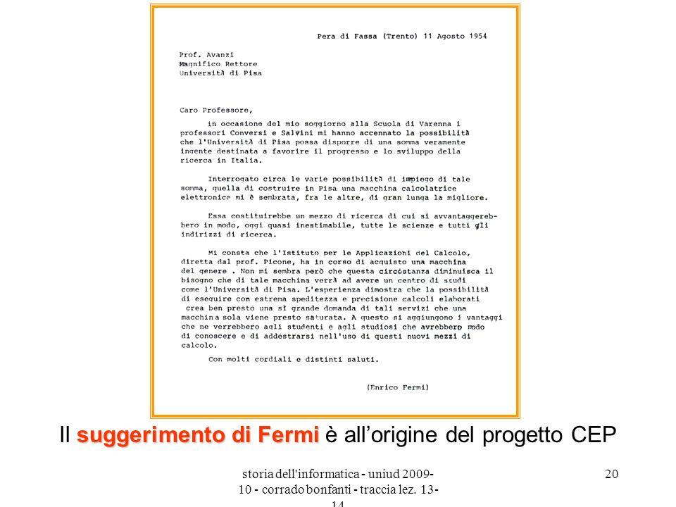 storia dell'informatica - uniud 2009- 10 - corrado bonfanti - traccia lez. 13- 14 20 suggerimento di Fermi Il suggerimento di Fermi è allorigine del p
