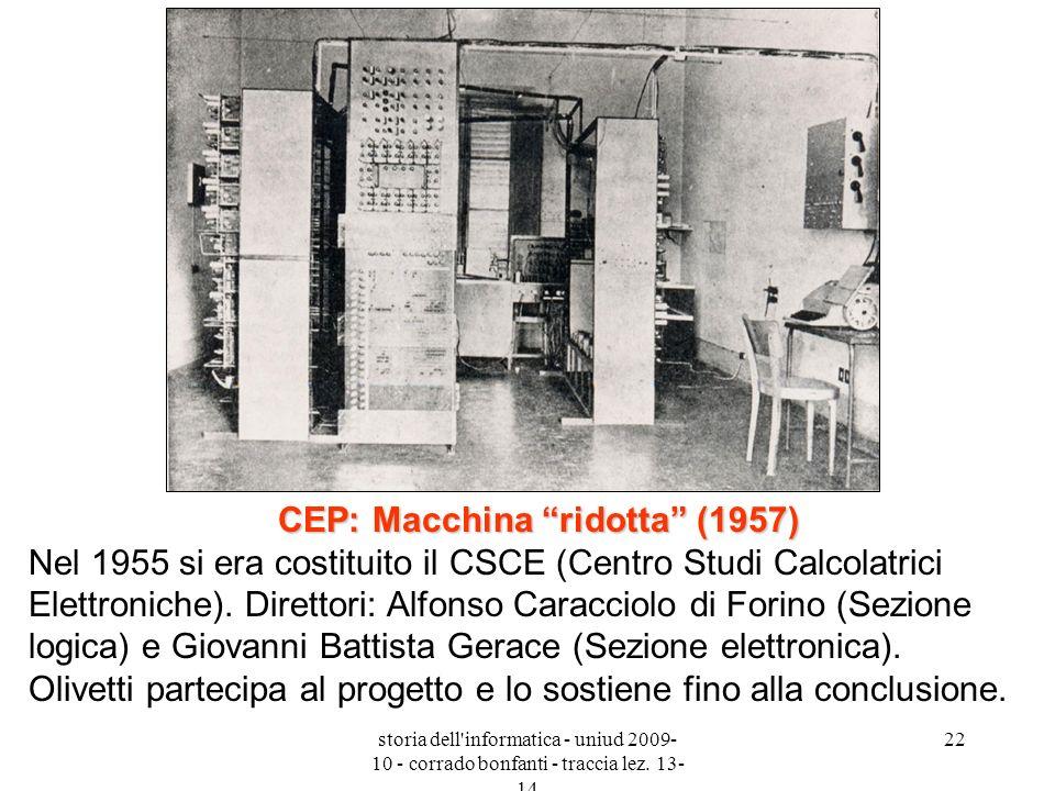 storia dell'informatica - uniud 2009- 10 - corrado bonfanti - traccia lez. 13- 14 22 CEP: Macchina ridotta (1957) CEP: Macchina ridotta (1957) Nel 195