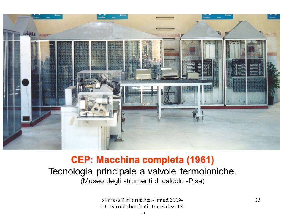 storia dell'informatica - uniud 2009- 10 - corrado bonfanti - traccia lez. 13- 14 23 CEP: Macchina completa (1961) CEP: Macchina completa (1961) Tecno