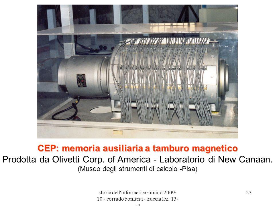 storia dell'informatica - uniud 2009- 10 - corrado bonfanti - traccia lez. 13- 14 25 CEP: memoria ausiliaria a tamburo magnetico CEP: memoria ausiliar
