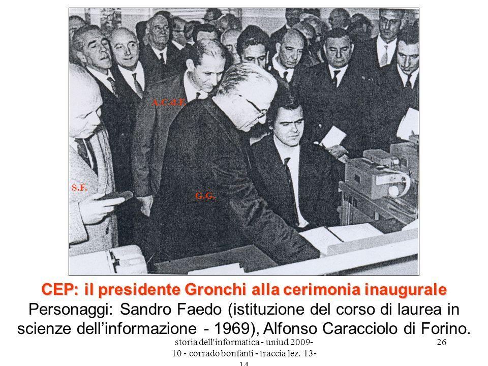 storia dell'informatica - uniud 2009- 10 - corrado bonfanti - traccia lez. 13- 14 26 CEP: il presidente Gronchi alla cerimonia inaugurale CEP: il pres