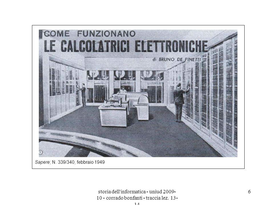 storia dell'informatica - uniud 2009- 10 - corrado bonfanti - traccia lez. 13- 14 6 Sapere; N. 339/340, febbraio 1949